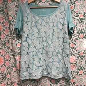 Lane Bryant Floral Lace Tee Shirt